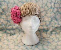 Crochet Pink Rose Flower Pony Tail Beanie Women Hat Messy Bun Headband Earwarmer