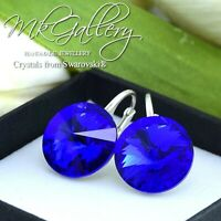925 SILVER EARRINGS 14MM RIVOLI CRYSTALS FROM SWAROVSKI® - MAJESTIC BLUE