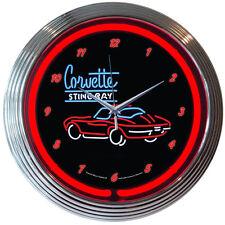 "Chevrolet Corvette Classic Stingray Neon Hanging Wall Clock: 15"" Diameter (NEW!)"