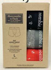 3 PK Abercrombie Fitch GREY NAVY CORAL ANCHORS Men Boxer Briefs Underwear LARGE
