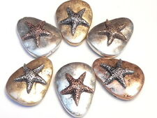 6 - 2 HOLE SLIDER BEADS TRIANGULAR HAMMERED LOOK STARFISH, SEA STAR MIXED METALS