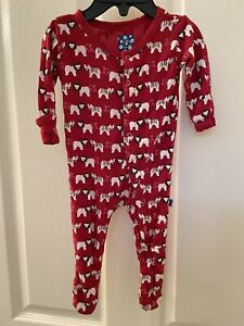 Kicky Kickee Pants Red Lions and Tigers Print Snap Footie Bamboo Size 0-3 Months