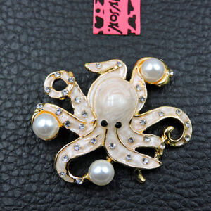 New Shiny Crystal White Octopus Enamel Betsey Johnson Charm Brooch Pin Gifts