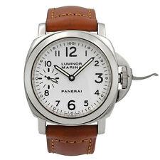 Panerai Luminor Marina Steel White Arabic Dial Hand Wind Mens Watch PAM00003