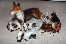 """3""""-8"""" Lot Vtg Occupied Japan Porcelain Fox Terrier Doberman Shepherd Dog Figure"""