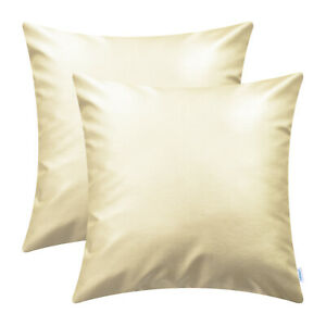 2Pcs Cushion Covers Shell Solid Dyed Faux Leather Home Sofa Decor 40cm 45cm 50cm