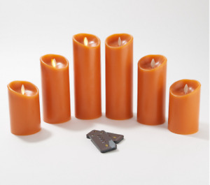 Luminara Set of 6 Assorted Pillars w/Gift Boxes & Remotes Rust Color