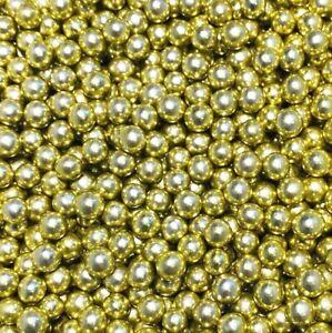 HIGH SHINE GOLD LARGE EDIBLE PEARLS SPRINKLES SUGAR BALLS CAKE DECORATIONS 6mm
