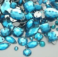 150x Mixed Shape Aqua Blue Sew on Diamante Crystal Gems Rhinestone 5-15mm UK #17