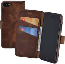 iPhone 7 | 8 Hülle Book Style Echt Leder Tasche Wallet Case Cover Antik Coffee