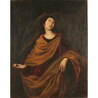 Italian Renaissance Baroque Old Master Saint Agnes 1600's Huge Antique Painting