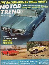 1967 (Mar.) Motor Trend magazine, Pontiac Firebird, The Jeepster ~ VG