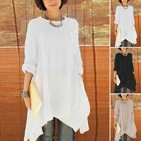 Women Cotton & Linen Baggy Loose Long Shirt Crewneck Tunic Dress Tops Blouses