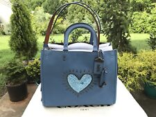 NWT Coach 1941 X Keith Haring Rogue Pebble Leather Heart Sequin Rogue 28637 Blue