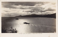 C.P.R. Steamers at Sunset Gulf of Georgia VANCOUVER BC Canada Gowen RPPC 29