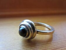925 Sterling Silver Signed Unique Handmade Navajo Style VTG Onyx Ring Sz 6,5=4gr