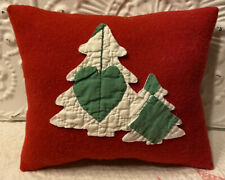 NEW Handmade Christmas Tree Pillow Vintage  Wool Blanket Old Fabric Quilt Cutout