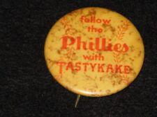 Vintage 1960s Philadelphia Phillies Tastykake Pin Old Baseball Advertise Pinback