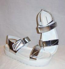 Vagabond Women's Irene Silver Quarter Strap Leather Sandals Retail $125 size 8