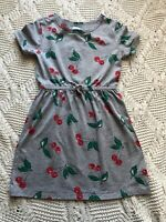 Girls GAP Kids Dress Jersey Knit Gray Cherries Print Short Sleeve Size S