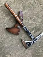 HAND FORGED TACTICAL VIKING BEARDED HATCHET COMBAT THROWING HUNTING CAMPING AXE