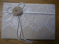 Livre D'or, Marron Lin, Toile De Jute Fleur, Lacet, Marriage, Cadeau, Présent