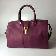 Yves Saint Laurent YSL Cabas Chyc Purple Leather Medium Tote Bag