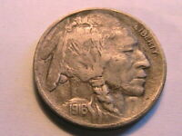 1916-D Buffalo Nickel Ch Very Fine + Toned Original Indian Head 5 Cent WWI Coin