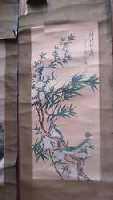 Superbe kakémono ancien peinture sur soie Japon oiseaux arbre fleurs.