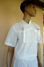 TESS SHIRT POLO ORIGINAL BLANC POCHES FILET RESILLE T M T 36/38 TBE