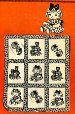 Vintage Embroidery Transfer repo 7176 Train Blocks Dolls for a Baby Quilt 33x41
