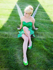 Women's Halloween Costume Cos Wigs with Hair Bun Tinker Bell Hair Short Blonde ~
