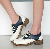 New Brogues Womens Color Stitching Lace Up Shoes Girls Low Heels Oxford Shoes
