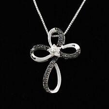 Designer .925 STERLING SILVER, WHITE & BLACK DIAMOND Flower Cross Necklace!