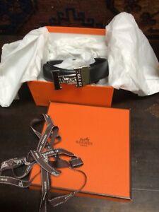 """Hermes Men's Belt, 32"""", Chrome plate Hermes buckle, Hermes Box, ribbons, $295.00"""