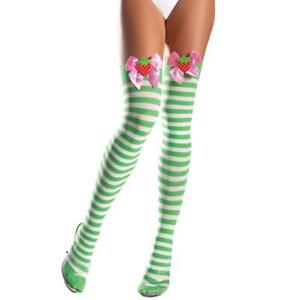 Green White Striped Thigh Highs Stockings Strawberry Pink Satin Bow BW506