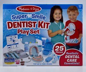 Melissa & Doug Super Smile Dentist Kit Play Set 25 Pc Accessories Teeth NEW