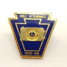 1985-1986 Lions Club 100% Attendance Pennsylvania Joe Wroblewski Pin Lapel