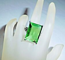 33 Ct.t.w. ~ EMERALD CUT GREEN TOURMALINE FACETED SOLITAIRE RING  SIZE 7.75