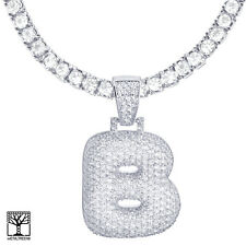 """Iced CZ Bubble Letter B Initial Silver Plated Pendant 24"""" Tennis Chain Necklace"""