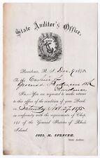 1875 RHODE ISLAND State Auditor DOCUMENT Political JOEL SPENCER Providence