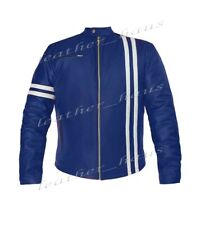 Genuine Leather Style Jacket with White Stripe Motorbike Bomber Biker Driver 507