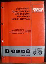 Deutz-Fahr Schlepper D 6806 Ersatzteilkatalog