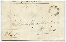 """1828 entire from Bridport to St Ives """"Pd 7"""" and """"PENRYN/ 269"""" mileage mark"""