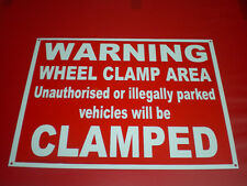 Warning Wheel Clamp Area Unauthorised Vehicles Clamped Red A3 Pre-Drilled Sign