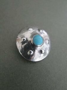 Vintage Silver Turquoise Arts & Craft Brooch