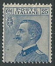 1906 REGNO EFFIGIE 25 CENT VARIETà BAFFO ALLUNGATO MNH ** - CZ17-10