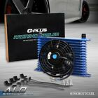 Fit For Universal 15 Row 10an Transmission Oil Cooler Blue 7 Cooling Fan Kit