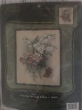 VICTORIAN BOUQUET Pillow Needlepoint Kit Candamar Lily of Valley Floral Green