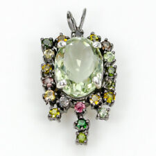 New Arrived Art Natural Green Amethyst 925 Sterling Silver Pendant /NP05943